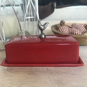 Chicken rooster butter dish